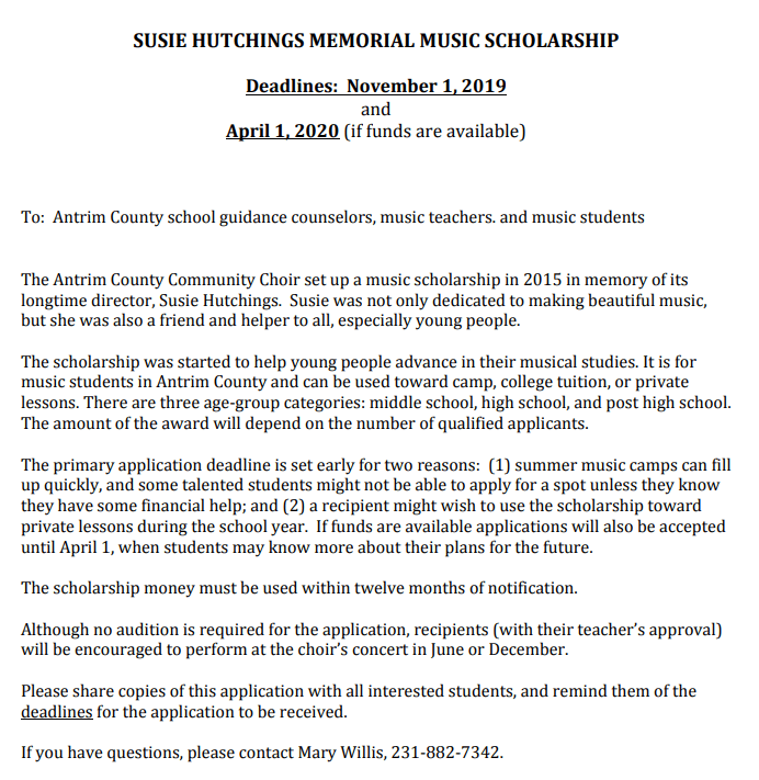 Music Scholarship Application is now available to Antrim County students, even college students!